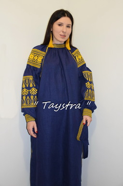 Embroidered dress Blue Dress Gold Embroidery, ethno, style boho chic, Bohemian, Vyshyvanka Dress Multi Color Embroidery Linen, Ukrainian embroidery