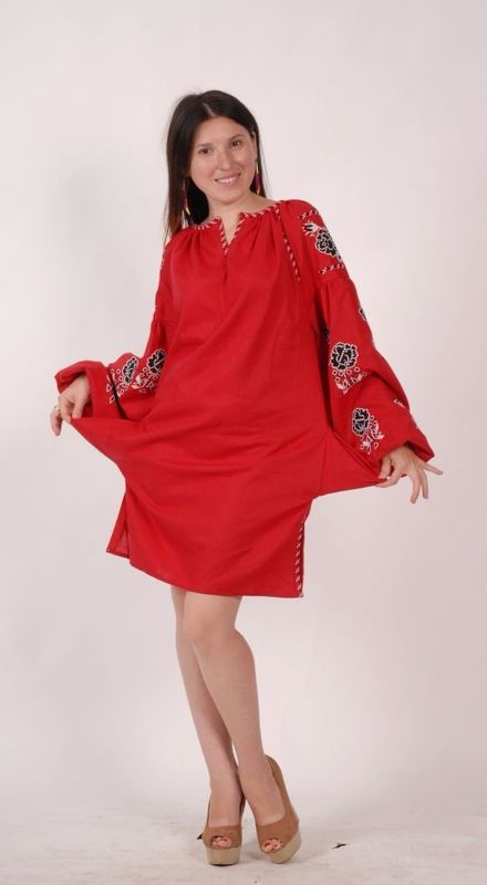 Embroidered tunic Short dress linen, vyshyvanka, Ukrainian embroidered, Boho style, Bohemian, ethno