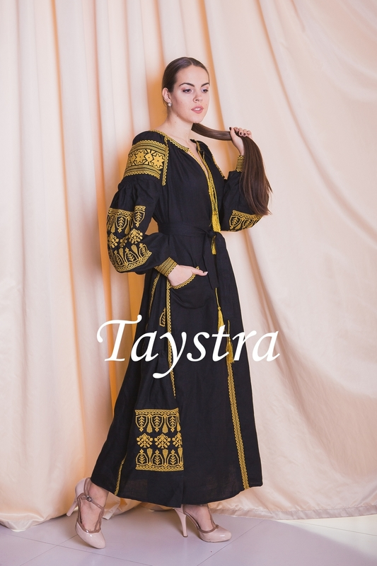 Dress boho embroidered linen, Gold Embroidery, Black Dress, style boho chic, Bohemian Vyshyvanka Dress Multi Color Embroidery Linen, Ukrainian embroidery