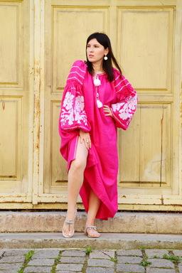Pink Dress Color Embroidery Linen Bohemian Vyshyvanka Ukrainian embroidery Tunic