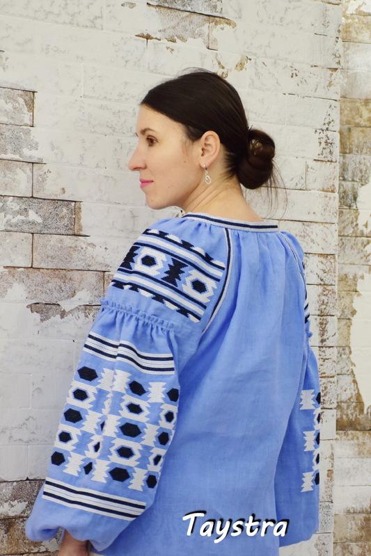 Vyshyvanka Embroidered, Blouse Blue Linen, ethno style boho chic, Bohemian Vyshyvanka Ukrainian embroidery