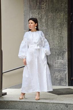 White Dress Ukrainian embroidery, Dress Embroidered Vyshyvanka, Evening Maxi Dress
