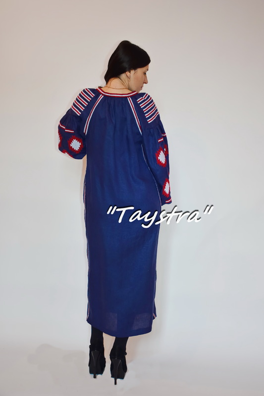 Vyshyvanka Dress Multi Color Embroidery Linen, Ukrainian embroidery, Blue Dress Boho Chic Etno