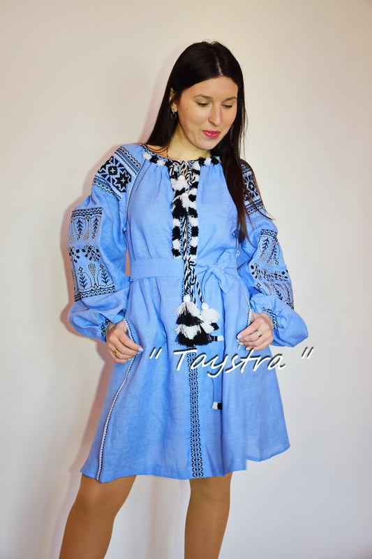 Boho Short Blue Dress Embroidered, ethno, style boho chic, Bohemian, Vyshyvanka Dress Multi Color Embroidery Linen, Ukrainian embroidery