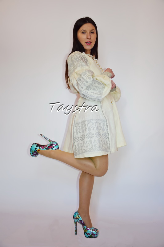 Short Dress Embroidered,ethno style boho chic, Bohemian, Vyshyvanka Dress Multi Color Embroidery Linen, Ukrainian embroidery,Beige Dress