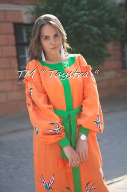 Orange dress boho embroidered linen, ethno, style boho chic, Bohemian Vyshyvanka Dress Multi Color Embroidery Linen, Ukrainian embroidery
