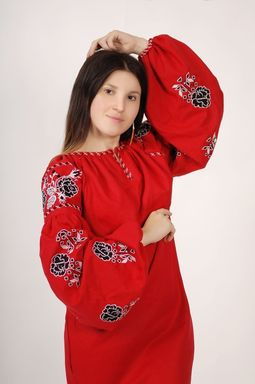 Vyshyvanka Red Dress Ukrainian embroidery, Mini Dress, Boho, ethno, style boho chic, Embroidered dress, Multi Color Embroidery Linen