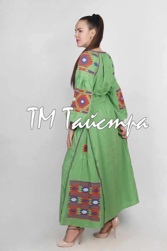 Boho dress embroidered, Green Dress linen, Maxi Dress, ethno, style boho chic, Bohemian Vyshyvanka Dress Multi Color Embroidery Linen, Ukrainian embroidery