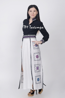 Fashionable Stylish Dress Antique Style, Embroidered linen, ethno, style boho chic, Maxi Dress, for the wedding, Embroidered dress, Multi Color Embroidery Linen