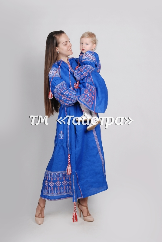 Embroidered clothes for two, mums and daughters ,for the mother and daughter, embroidered for family, embroidered linen, ethno, style boho chic, Bohemian, Vyshyvanka Dress Multi Color Embroidery Linen, Ukrainian embroidery, Two-piece clothes