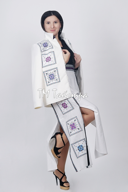 White coat with embroidery, cashmere, ethno