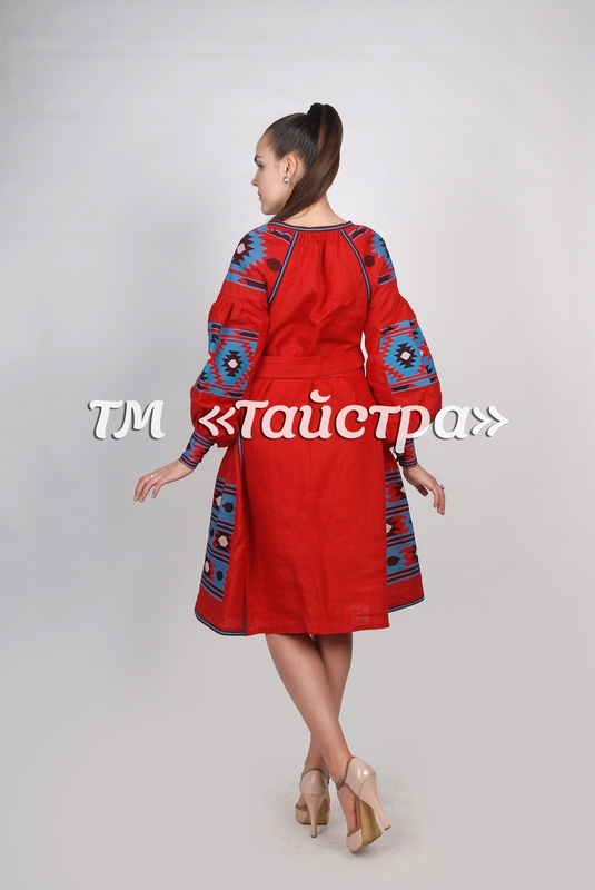 Red Midi Dress, Ukrainian embroidery, Boho, ethno, style boho chic, Embroidered dress, Multi Color Embroidery Linen