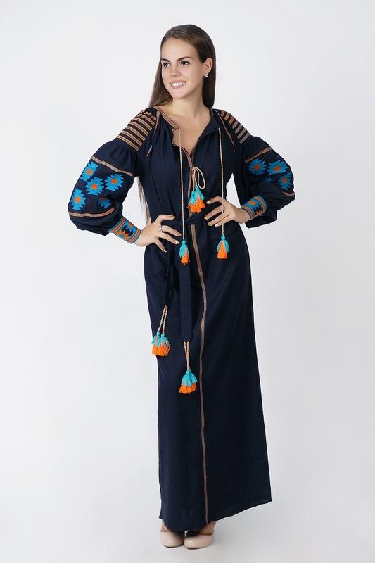 Boho dress embroidered, Dark blue linen, ethno, style boho chic, Bohemian Vyshyvanka Dress Multi Color Embroidery Linen, Ukrainian embroidery