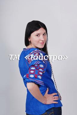 Boho Blouse Vyshyvanka Embroidered, Blue Blouse Linen, ethno, style boho chic, Bohemian Vyshyvanka Multi Color Embroidery Linen, Ukrainian embroidery