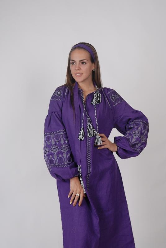 Purple Dress, Violet Dress boho embroidered linen, ethno, style boho chic, Bohemian Vyshyvanka Dress Multi Color Embroidery Linen, Ukrainian embroidery
