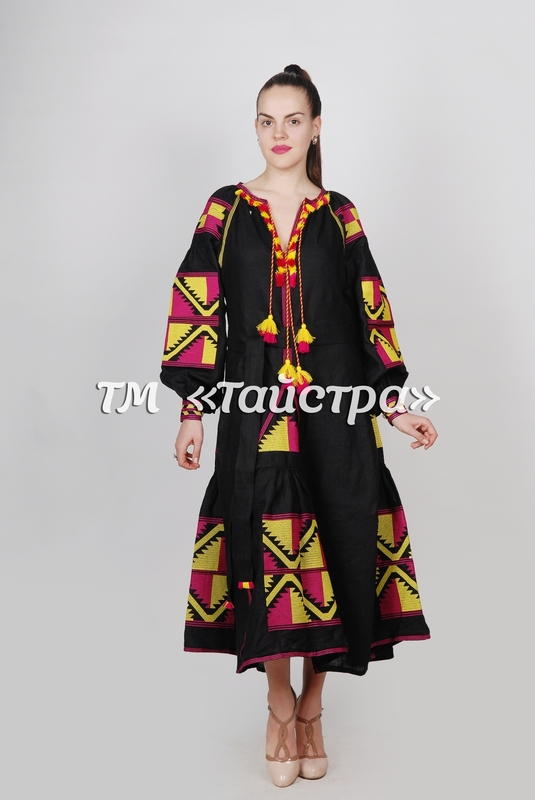 Embroidered Maxi Dress Boho, Four Embroidered Wedges, ethno, Black Dress style boho chic, Bohemian, Vyshyvanka Dress Multi Color Embroidery Linen, Ukrainian embroidery