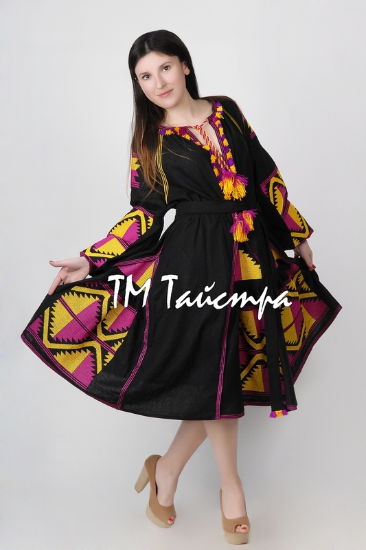 Embroidered Midi Dress Boho, Four Embroidered Wedges, ethno, Black Dress style boho chic, Bohemian, Vyshyvanka Dress Multi Color Embroidery Linen, Ukrainian embroidery