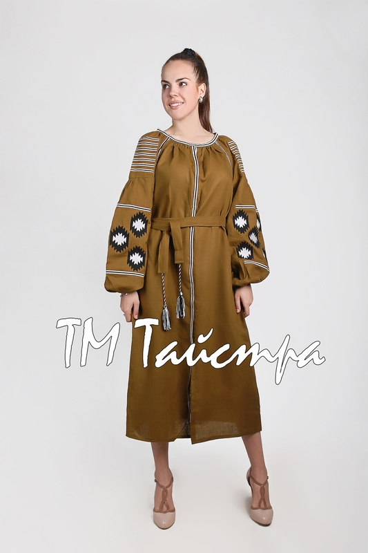 Dress boho embroidered linen, ethno, style boho chic, Bohemian Vyshyvanka Dress Multi Color Embroidery Linen, Ukrainian embroidery