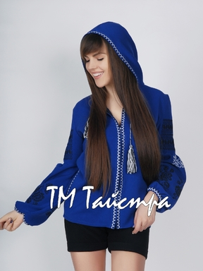 Embroidered jacket with hood,ethno style, embroidery on clothes