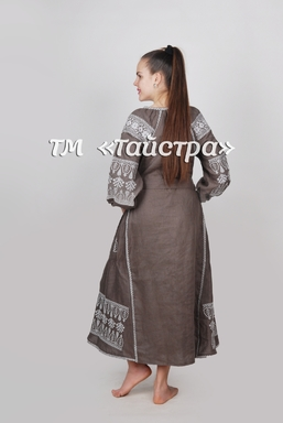 Gray Dress Embroidered Boho, ethno, style boho chic, Bohemian, Vyshyvanka Dress Multi Color Embroidery Linen, Ukrainian embroidery