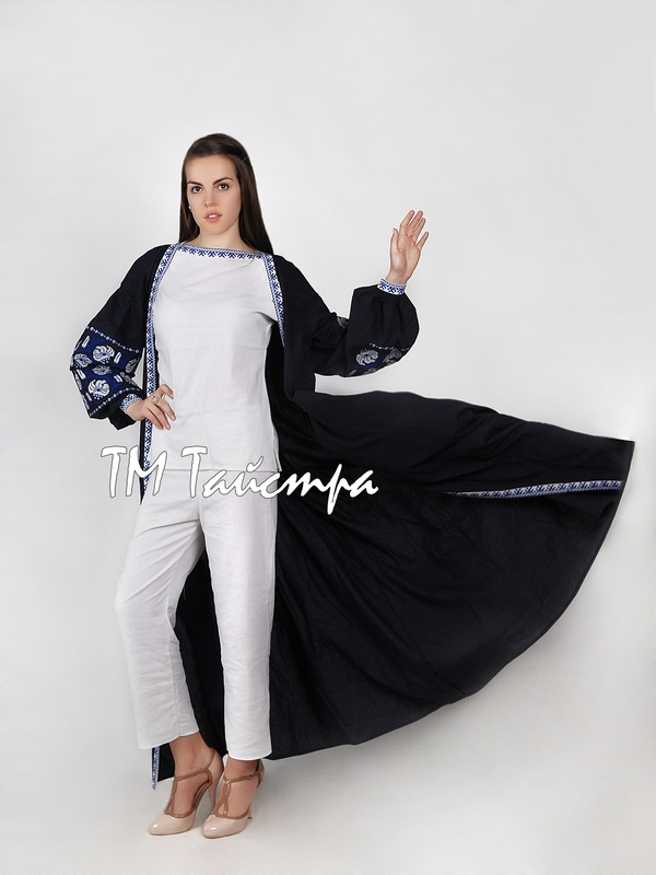 Bisht Embroidered Linen, Embroidered Dress in Oriental style, Arabic Style, Abaya Embroidered Linen