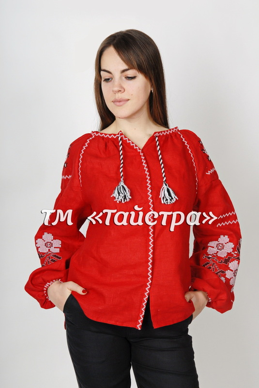 Vyshyvanka Embroidered Blouse, Red Linen, ethno, style boho chic, Embroidered clothes Bohemian, ethno , Vyshyvanka  Multi Color Embroidery Linen, Ukrainian embroidery
