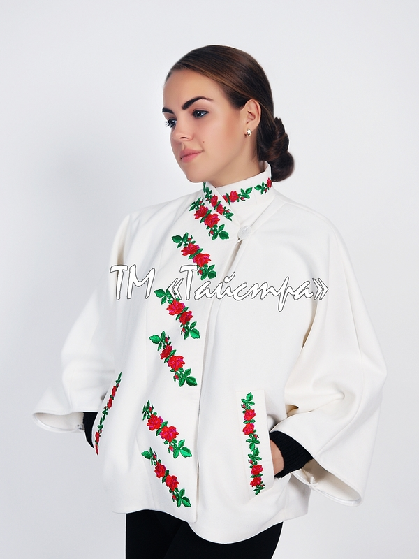 Women's coat with embroidery, ethnostyle, white coat