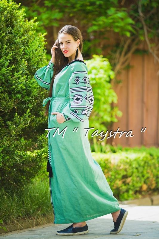 Embroidered dress Boho, ethno, style boho chic, Bohemian, Vyshyvanka Dress Multi Color Embroidery Linen, Ukrainian embroidery, Green Dress