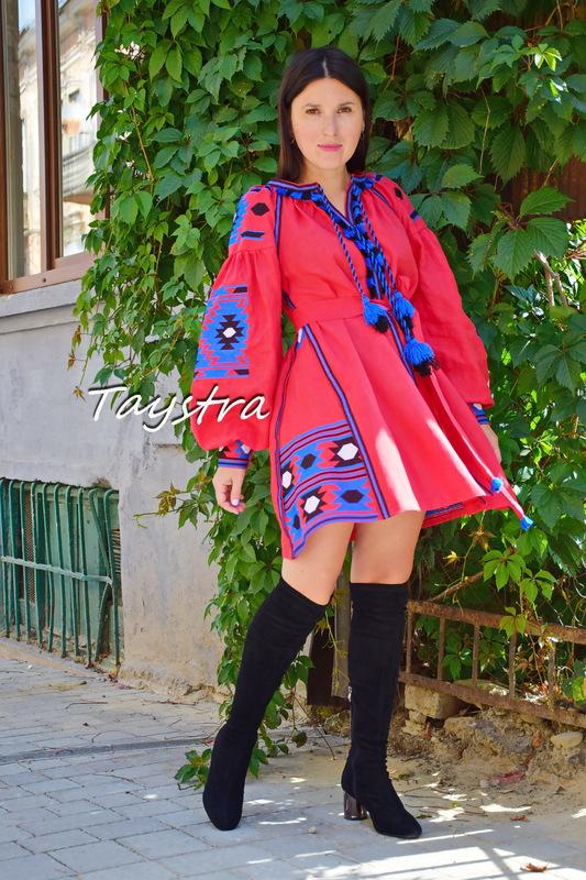 Boho Chic Mini Dress Embroidered, Red Linen Dress Vyshyvanka Ukrainian embroidery