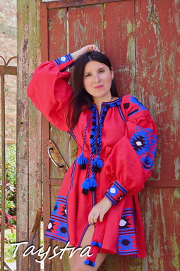 Boho Chic Mini Dress Embroidered, Red Linen Dress Vyshyvanka Ukrainian embroidery