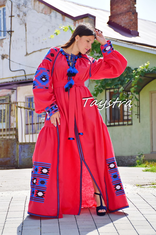 Embroidered Red Maxi Linen Dress Vyshyvanka Ukrainian embroidery