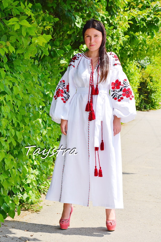 White Embroidered Dress linen ethno style boho chic  Dress Vyshyvanka Ukrainian embroidery