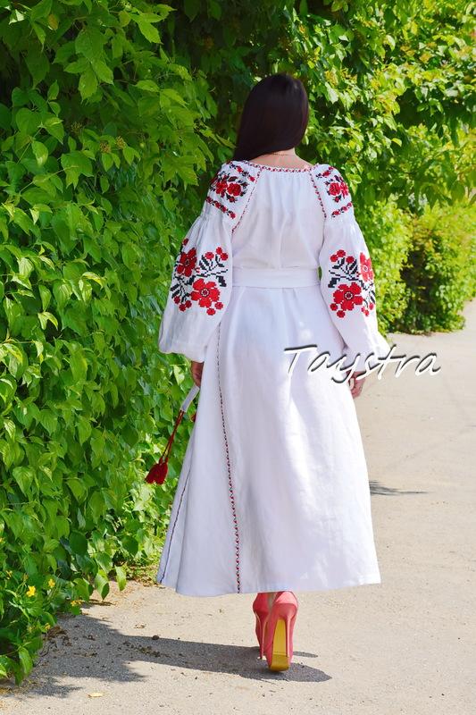 White Embroidered Dress linen ethno style boho chic  Dress Vyshyvanka Ukrainian embroidery