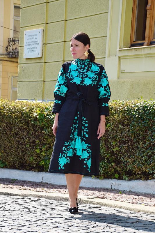 Black Dress Embroidered Vyshyvanka Dress tiffany, Stylish Designer Dress