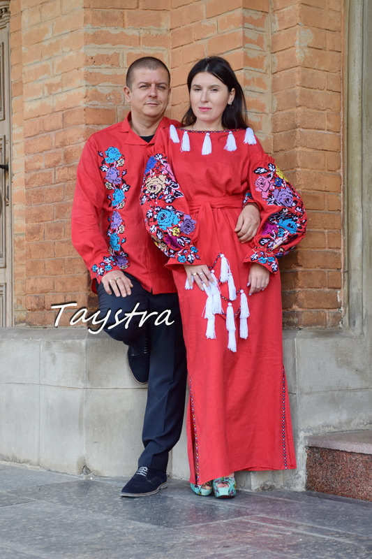 Embroidered clothes linen for two, for the wedding, embroidered for family, ethno style boho chic Bohemian Vyshyvanka Multi Color Embroidery Linen Ukrainian embroidery