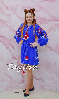 Dress Children Embroidered vyshyvanka boho style, Blue dress, Dress for a girl, vyshyvanka baby