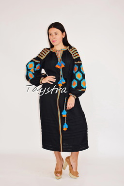 Embroidered Black Dress linen ethno style boho chic Vyshyvanka Dress Color Embroidery, Ukrainian embroidery
