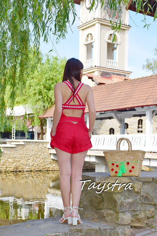 Red Overalls embroidered, Embroidered stylish jumpsuit embroidered linen sleeveless jumpsuit