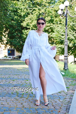 Embroidered Dress White Embroidery, White Linen Dress Vyshyvanka Ukrainian