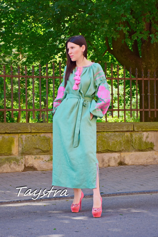 Bright Dress Tunic Dress Color Embroidery Linen Bohemian Vyshyvanka Ukrainian embroidery, Green Dress