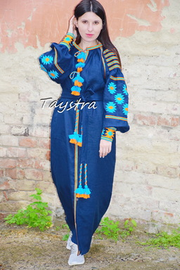 Dark blue Dress embroidered  linen ethno style boho chic, Bohemian Vyshyvanka Dress Ukrainian embroidery