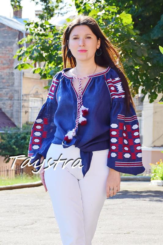 Boho blouse, blouse embroidered women's embroidery ethno style blouse, linen blue blouse Vyshyvanka Ukrainian embroidery