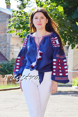 Boho blouse, blouse embroidered women's embroidery ethno style blouse, linen blue blouse Vyshyvanka Ukrainian embroidery