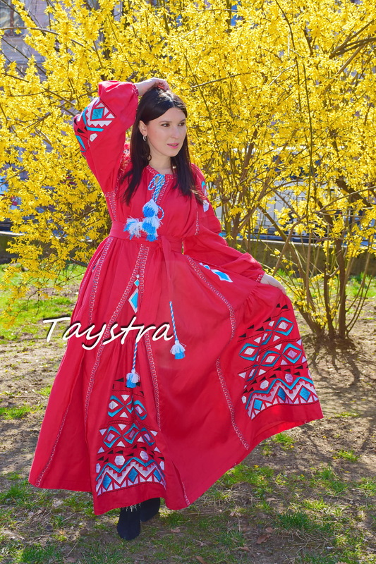 Dress Embroidered Red Maxi Linen Dress Vyshyvanka Ukrainian embroidery