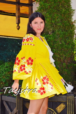 Short Yellow Dress Embroidered Vyshyvanka  Linen Dress Gypsy
