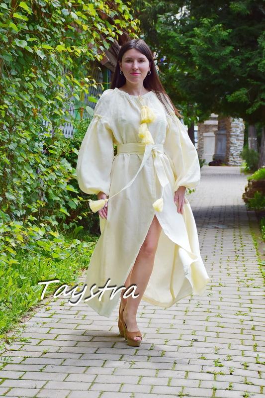 Embroidered Dress Vyshyvanka Ukrainian embroidery, ethno style boho chic, Beige Dress