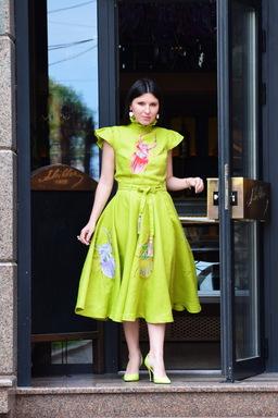 Green Dress Neon, Embroidery Dress Evening, Stylish Dress Bright Green Apple