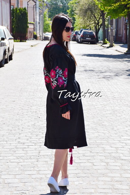 Dress Vyshyvanka Ukrainian embroidery Black BohoDress ethno style boho chic Embroidered dress Multi Color Embroidery Linen