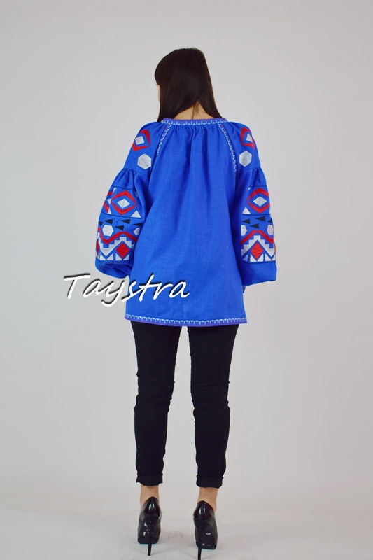 Vyshyvanka, Boho embroidered embroidery ethno style blouse, linen blue women's blouse