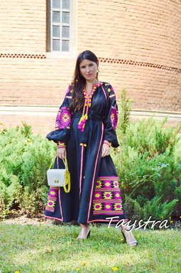Black Dress Vyshyvanka Dress Embroidery Linen Dress Ukrainian